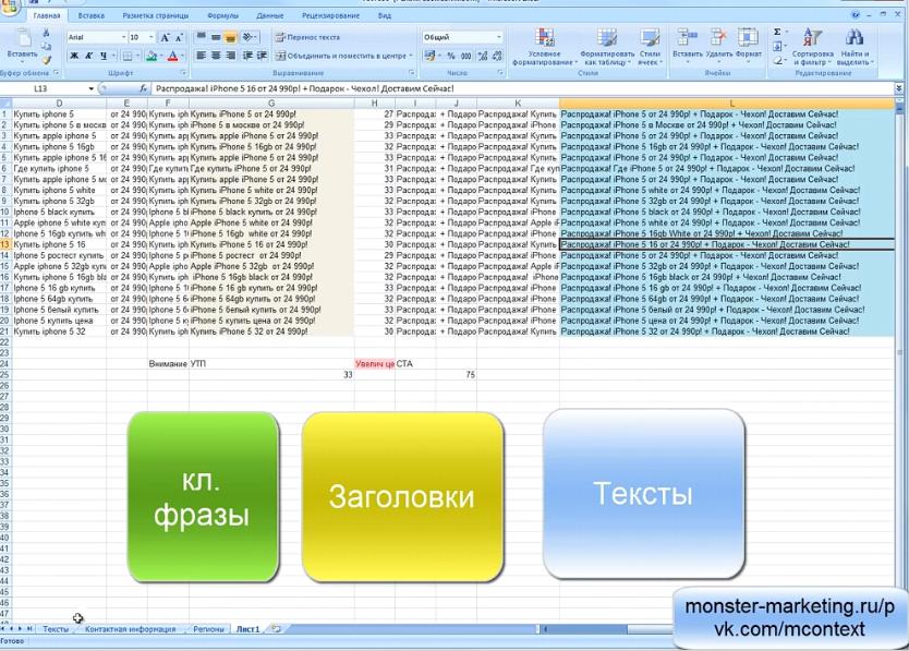 Яндекс Директ Excel